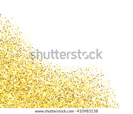Gold glitter texture border over white background. Abstract golden sparkles of confetti. Vector illustration with room for your text.