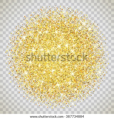 Gold Glitter Texture Isolated On Transparent Stock Vector