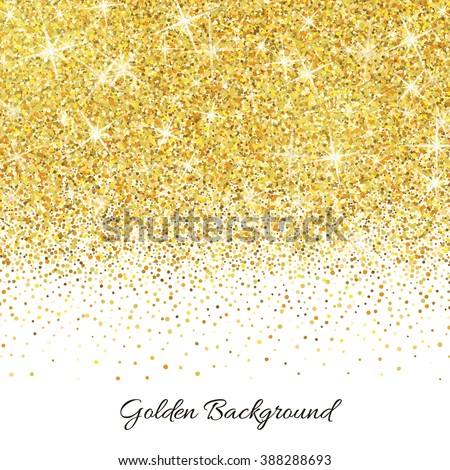Gold glitter texture isolated on white background. Vector illustration for golden shimmer background. Sparkle sequin tinsel yellow bling. For sale gift card, brightly vibrant certificate voucher