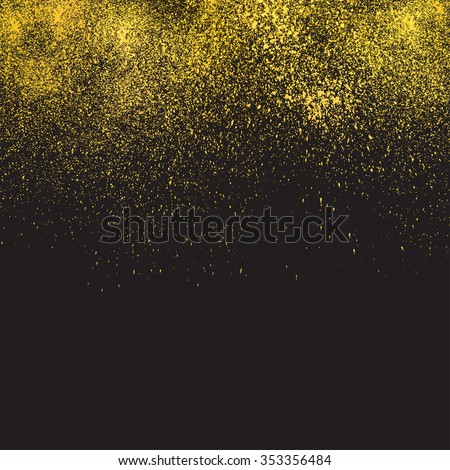 Gold glitter texture on a black background. Vector design element