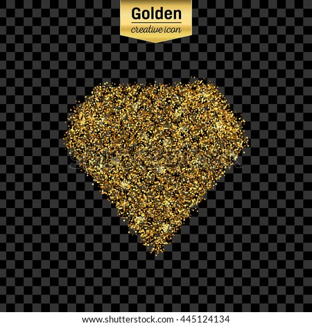 Gold glitter vector icon of diamond isolated on background. Art creative concept illustration for web, glow light confetti, bright sequins, sparkle tinsel, abstract bling, shimmer dust, foil. - stock vector