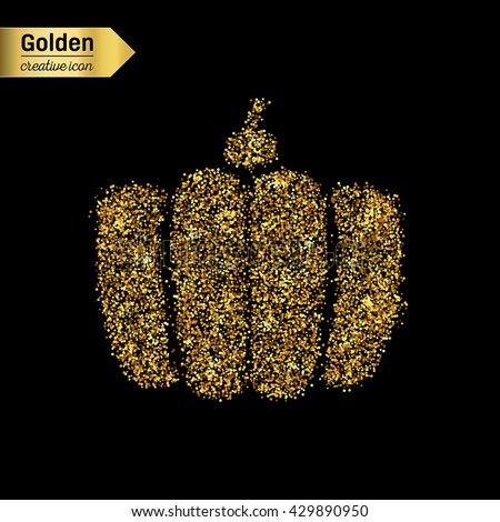 Gold glitter vector icon of gourd isolated on background. Art creative concept illustration for web, glow light confetti, bright sequins, sparkle tinsel, abstract bling, shimmer dust, foil. - stock vector
