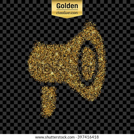 Gold glitter vector icon of megaphone isolated on background. Art creative concept illustration for web, glow light confetti, bright sequins, sparkle tinsel, bling logo, shimmer dust, foil. - stock vector