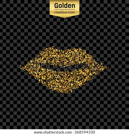 Gold glitter vector icon of mouth isolated on background. Art creative concept illustration for web, glow light confetti, bright sequins, sparkle tinsel, abstract bling, shimmer dust, foil. - stock vector