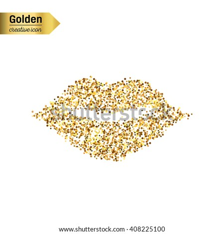 Gold glitter vector icon of mouth isolated on background. Art creative concept illustration for web, glow light confetti, bright sequins, sparkle tinsel, abstract bling, shimmer dust, foil - stock vector
