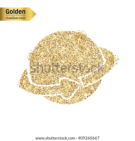 Gold glitter vector icon of planet earth isolated on background.