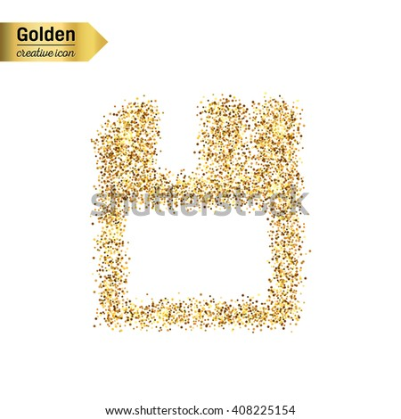 Gold glitter vector icon of save isolated on background. Art creative concept illustration for web, glow light confetti, bright sequins, sparkle tinsel, abstract bling, shimmer dust, foil - stock vector