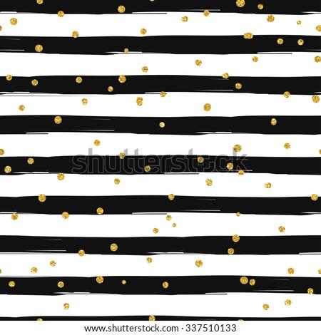 Gold glittering confetti seamless pattern on stripe background