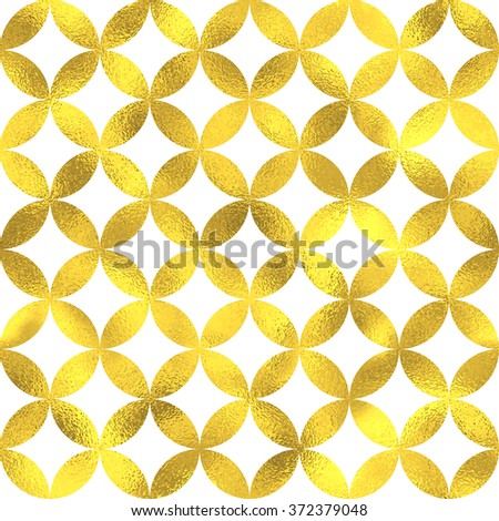 Gold glittering foil geometric seamless pattern background with circles - stock vector