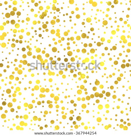 Gold glittering foil seamless pattern background with circles - stock vector