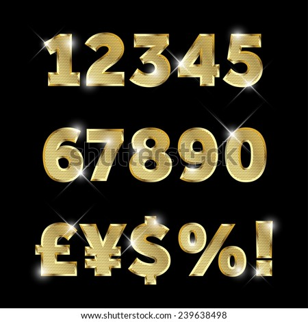 Gold glittering  metal alphabet - numbers (figures), currency signs. - stock vector