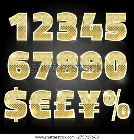 Gold glittering metal alphabet - numbers (figures), currency signs.