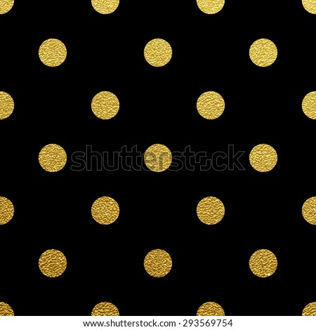 Gold glittering polka dot seamless pattern on black background. - stock vector