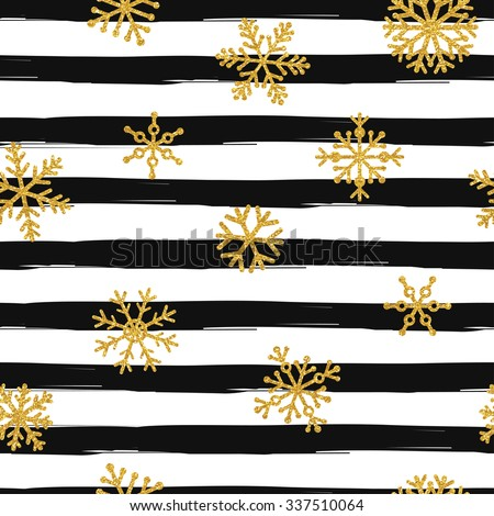 Gold glittering snowflakes seamless pattern on black striped background - stock vector