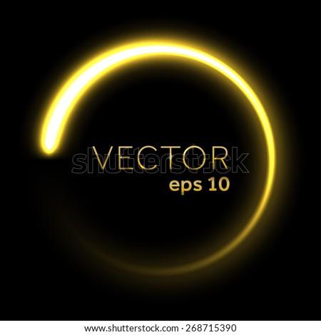 Gold glittering star dust circle - stock vector