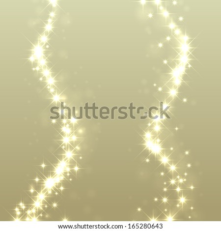 Gold glittering stars dust trail background. Christmas light effect.