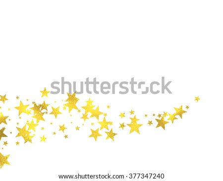 Gold glittering wave with foil stars isolated on white background, vector design elements