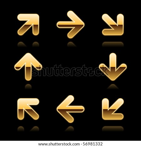 Gold glossy arrow sign web 2.0 button. Metal shapes with reflection on black background - stock vector
