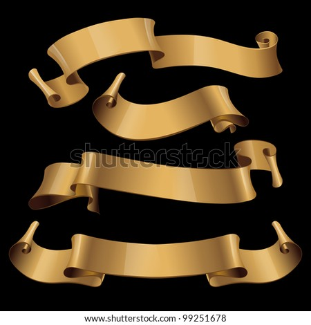 Gold glossy ribbons on a black background. eps 10 - stock vector