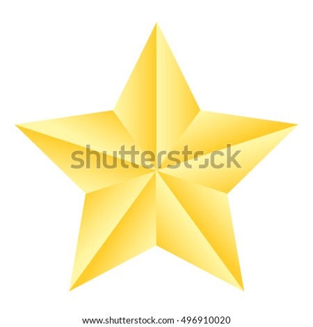 Gold Gradient Star Icon On White Stock Vector 496910020 Shutterstock