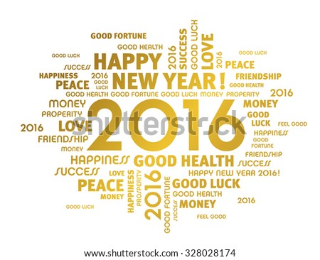 Gold greeting words around 2016 year type isolated on white - stock vector