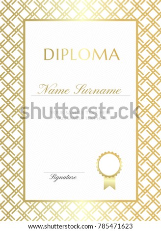 Gold Gride Diploma Design Template Graduation Stock Vector