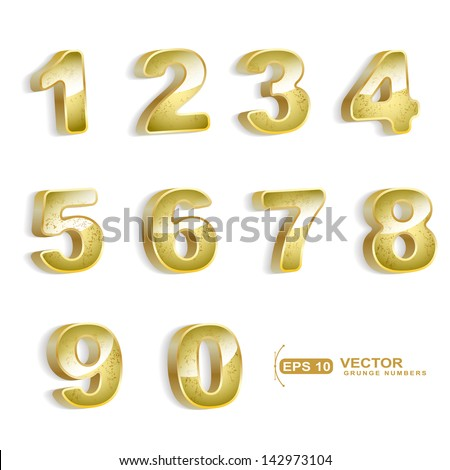 gold grunge 3D numbers set isolated on white - stock vector