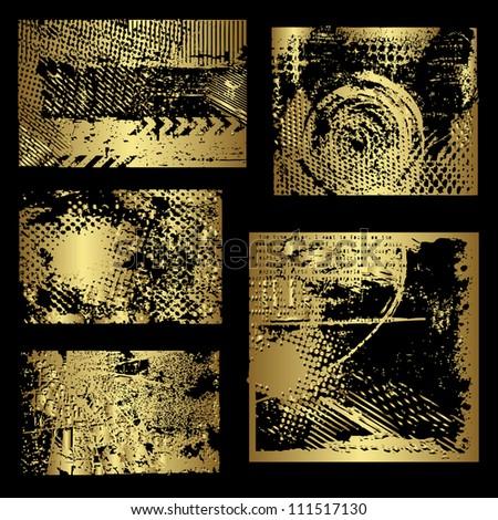 Gold grunge elements vector - stock vector