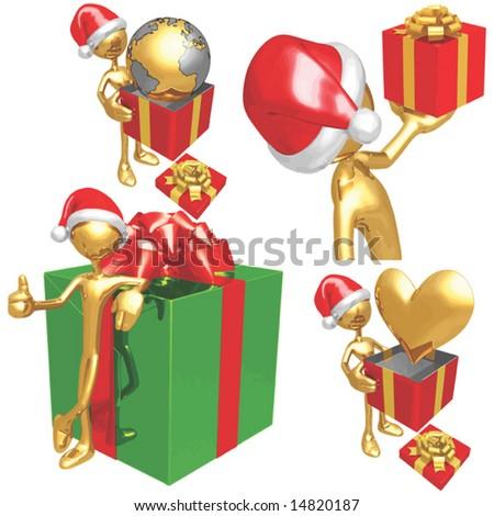 Gold Guy Christmas - stock vector