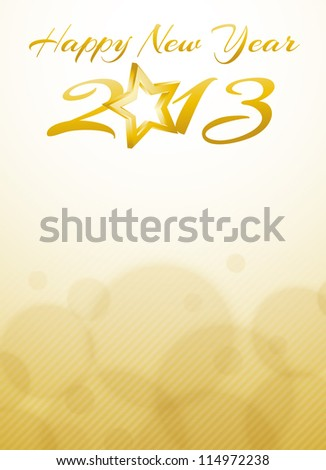 gold Happy new year 2013 card - stock vector