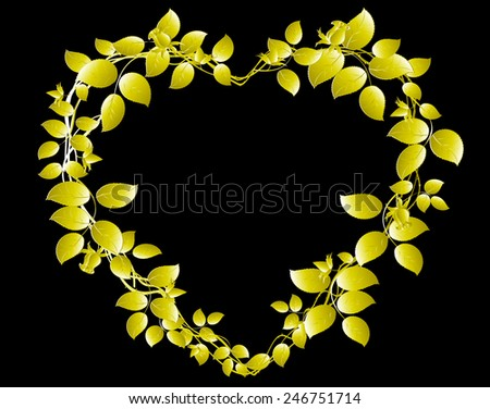 Gold heart of roses on a black base. EPS10 vector illustration.  - stock vector