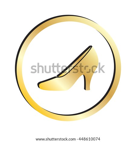 Gold High Heeled Shoes Stilettos Icon - stock vector