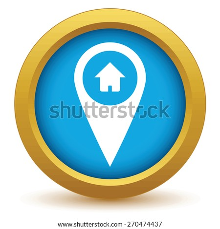 Gold home pointer icon on a white background. Vector illustration