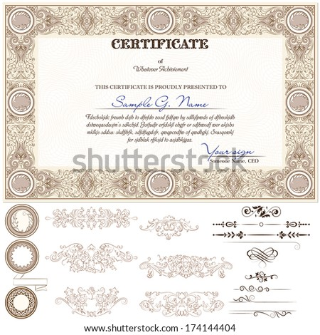 Gold horizontal certificate template with additional design elements - stock vector