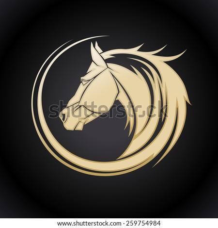 Gold horse logo template. - stock vector
