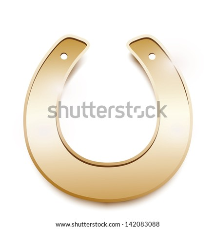 Gold horseshoe isolated on a white background - stock vector
