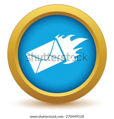 Gold hot letter  icon on a white background. Vector illustration - stock vector