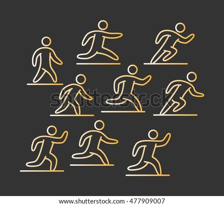 Gold icon set of runners. Linear sports icons running