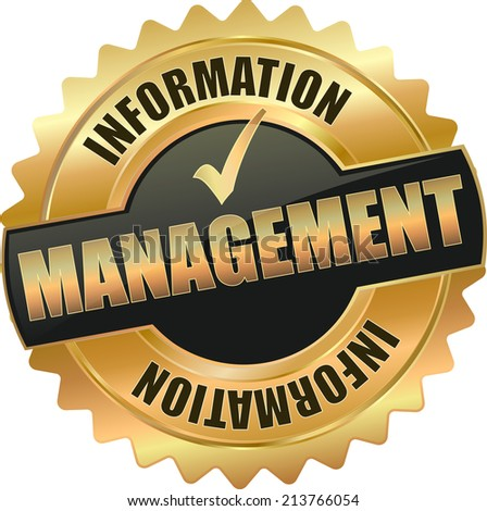 gold information management sign - stock vector