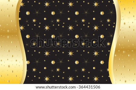 Gold Invitation Pattern Different Shapes Stars Stock Vector 2018