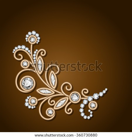 Gold jewelry background with diamond sprig, elegant jewelry flower, jewellery floral decoration, vector greeting card or invitation template, eps10 - stock vector