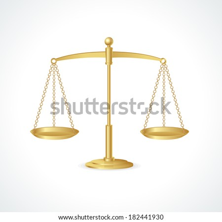 Gold justice scales isolated on white - stock vector