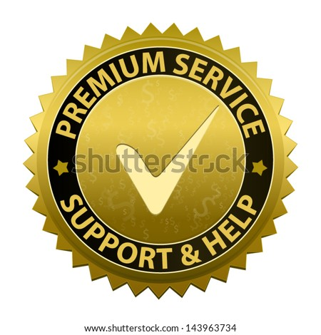 Gold label Customer premium service and support icon or symbol isolated on white background. Vector
