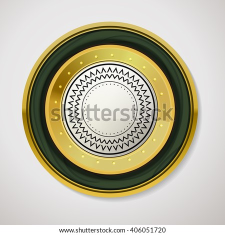 Gold label for promo seals. Quality sticker with glossy and wood texture. Vector circle emblem on white background. Vintage circle gold shape with green border and place for text. Web label - stock vector