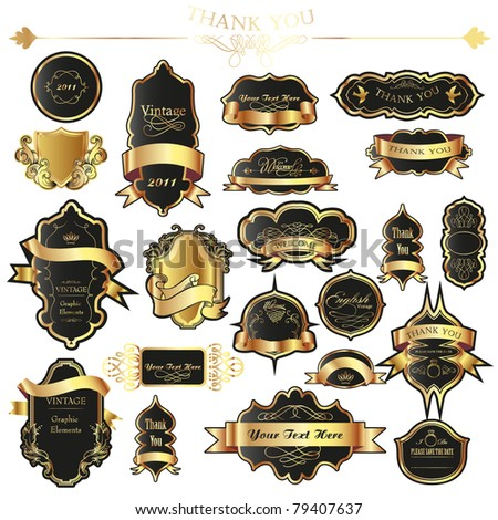 gold label set - stock vector