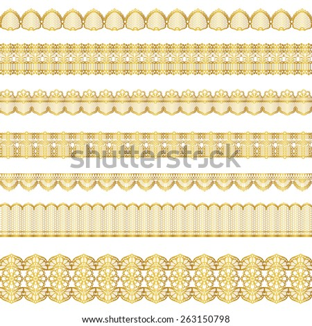 gold lace set - stock vector