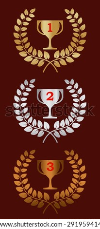 Gold laurel wreath award. Gold cup. On a red background. Represents a victory, achievement, honor, quality product, or success. - stock vector
