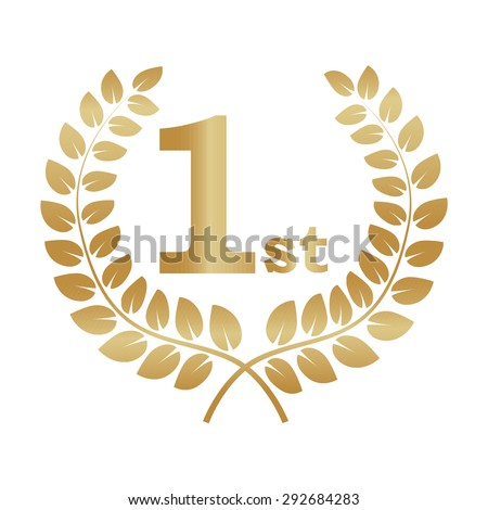 Gold laurel wreath award. Represents a victory, achievement, honor, quality product, or success. Ornate leaf sections. Vector illustration isolated on a white background