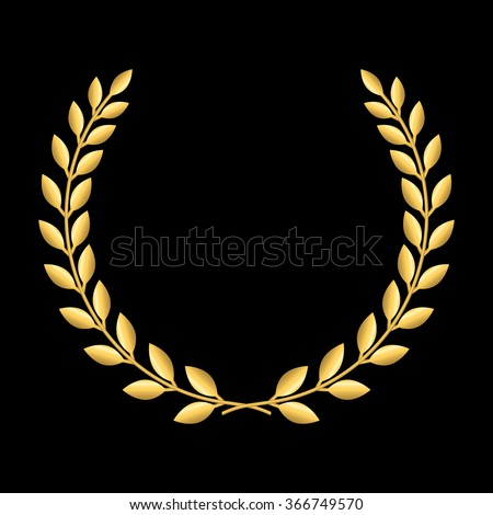 Gold laurel wreath. Symbol of victory and achievement. Design element for decoration of medal, award, coat of arms or anniversary logo. Golden leaf silhouette on black background. Vector illustration - stock vector