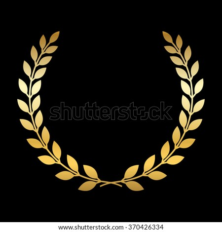 Gold laurel wreath. Symbol of victory and achievement. Design element for decoration of medal, award, coat of arms or anniversary logo. Golden leaf silhouette on black background. Vector illustration. - stock vector